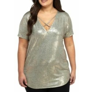 Love, Fire Top Gold Foil Metallic Plus Size 3X NWT